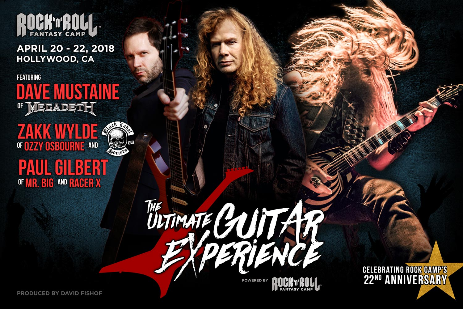 Flyer for the camp, with photos of your camp headliners: Dave Mustaine, Zakk Wylde, and Paul Gilbert.